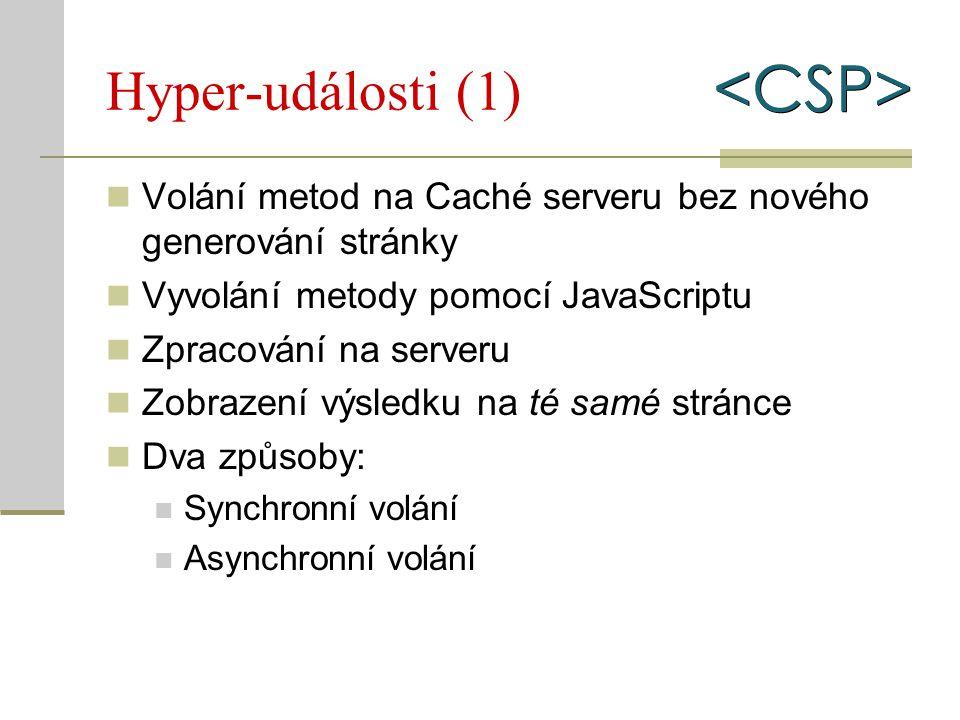 Hyper-události (1) Volání metod na Caché serveru bez nového generování stránky Vyvolání metody pomocí JavaScriptu Zpracování na serveru Zobrazení výsl