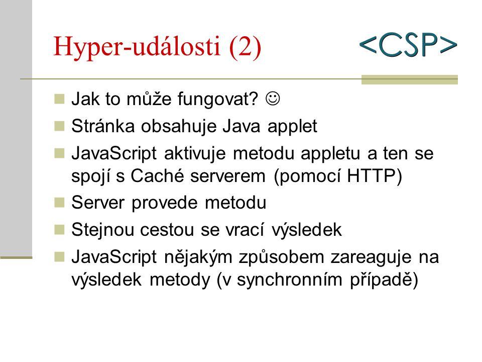 Hyper-události (2) Jak to může fungovat? Stránka obsahuje Java applet JavaScript aktivuje metodu appletu a ten se spojí s Caché serverem (pomocí HTTP)