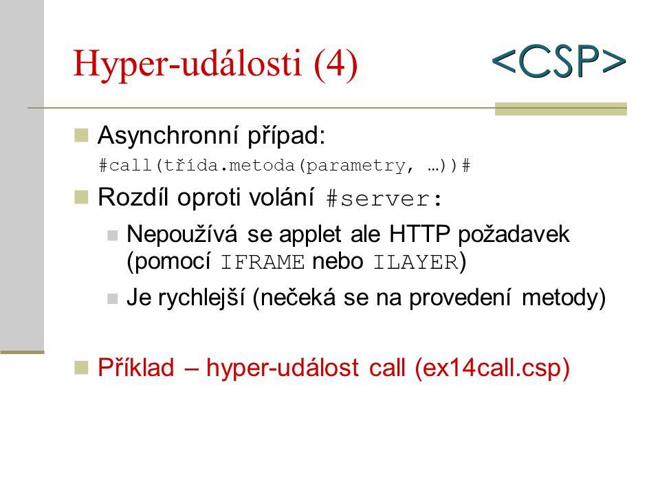 Hyper-události (4) Asynchronní případ: #call(třída.metoda(parametry, …))# Rozdíl oproti volání #server: Nepoužívá se applet ale HTTP požadavek (pomocí