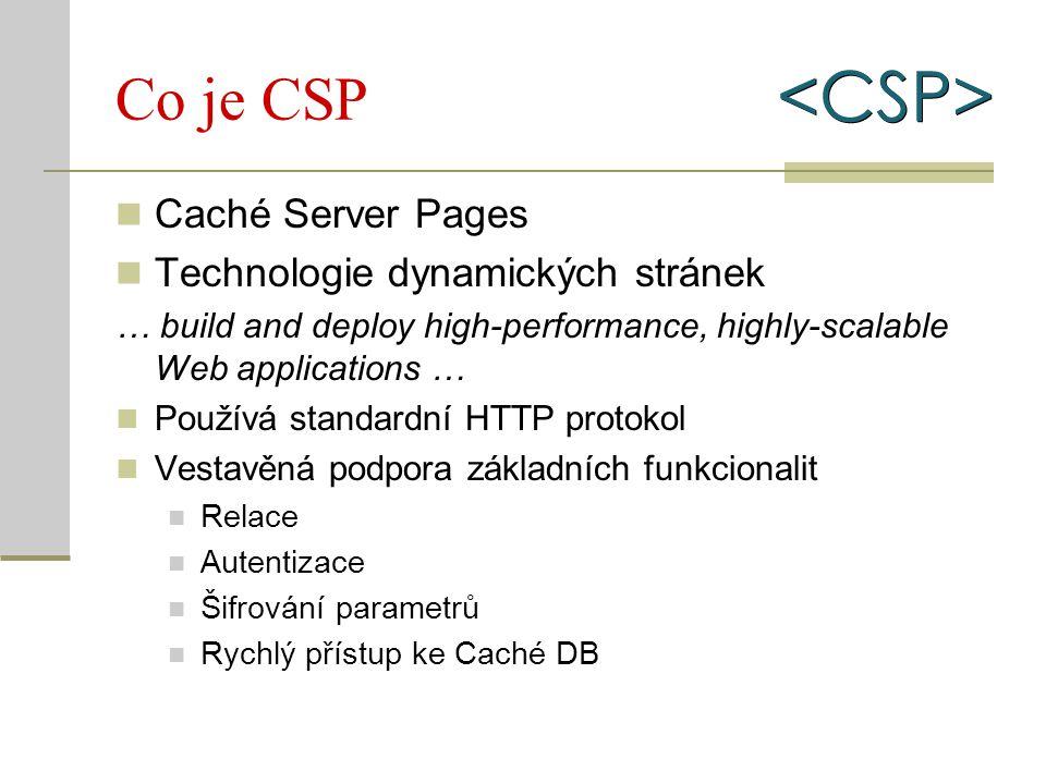 Architektura Standardní web servery (IIS, Apache, Caché HTTP) Modul webserveru pro přesměrování požadavků CSP server pro zpracování požadavku Výstup nemusí být jen HTML XHTML XML Dle fantasie