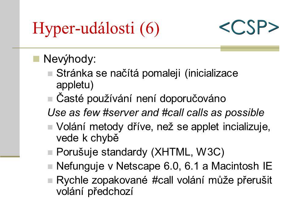 Hyper-události (6) Nevýhody: Stránka se načítá pomaleji (inicializace appletu) Časté používání není doporučováno Use as few #server and #call calls as
