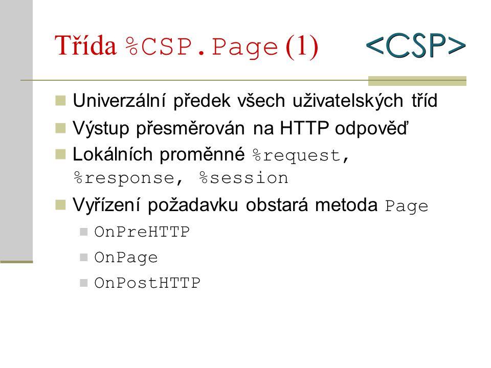 Třída %CSP.Page (1) Univerzální předek všech uživatelských tříd Výstup přesměrován na HTTP odpověď Lokálních proměnné %request, %response, %session Vy