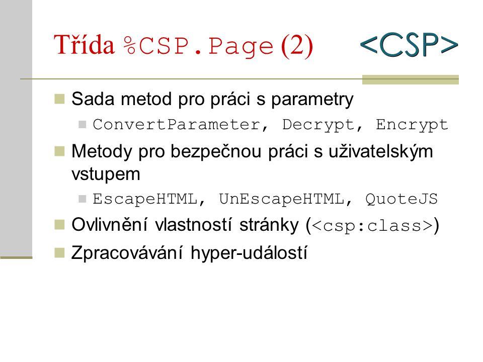 Třída %CSP.Page (2) Sada metod pro práci s parametry ConvertParameter, Decrypt, Encrypt Metody pro bezpečnou práci s uživatelským vstupem EscapeHTML,