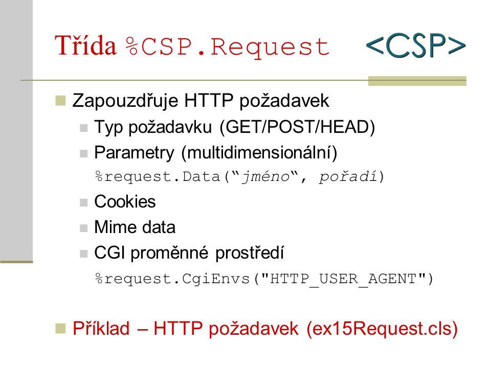 """Třída %CSP.Request Zapouzdřuje HTTP požadavek Typ požadavku (GET/POST/HEAD) Parametry (multidimensionální) %request.Data(""""jméno"""", pořadí) Cookies Mime"""