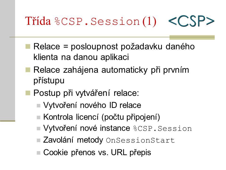 Třída %CSP.Session (1) Relace = posloupnost požadavku daného klienta na danou aplikaci Relace zahájena automaticky při prvním přístupu Postup při vytv