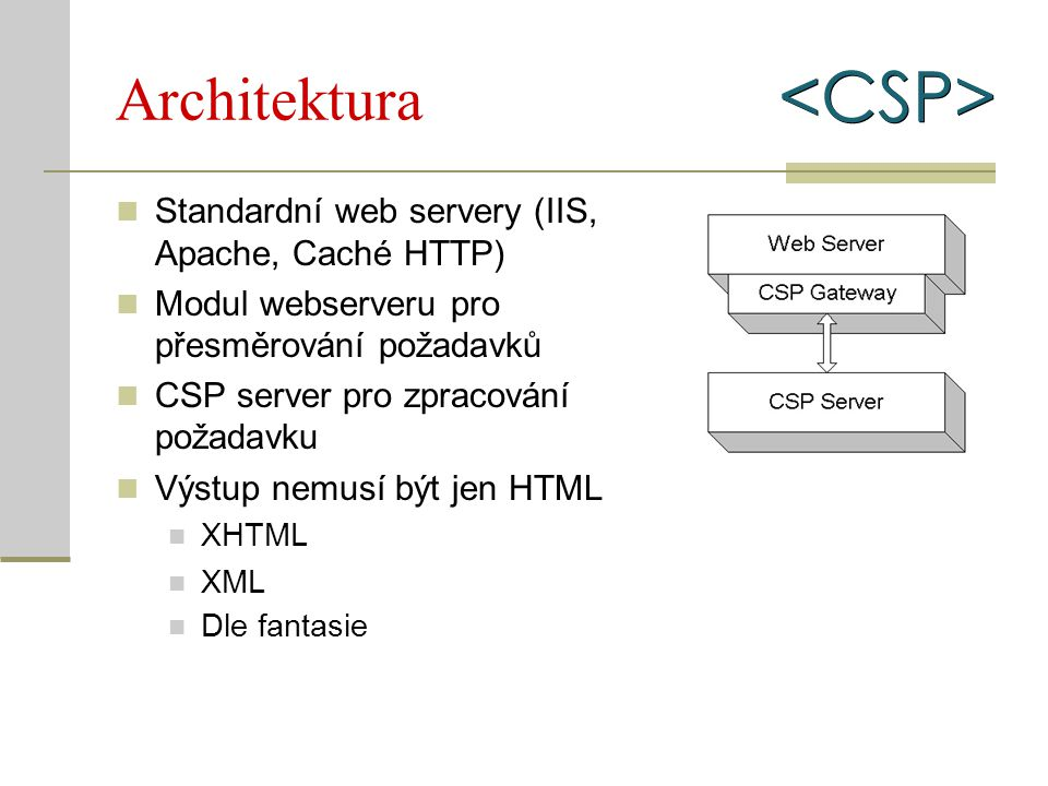 Architektura Standardní web servery (IIS, Apache, Caché HTTP) Modul webserveru pro přesměrování požadavků CSP server pro zpracování požadavku Výstup n