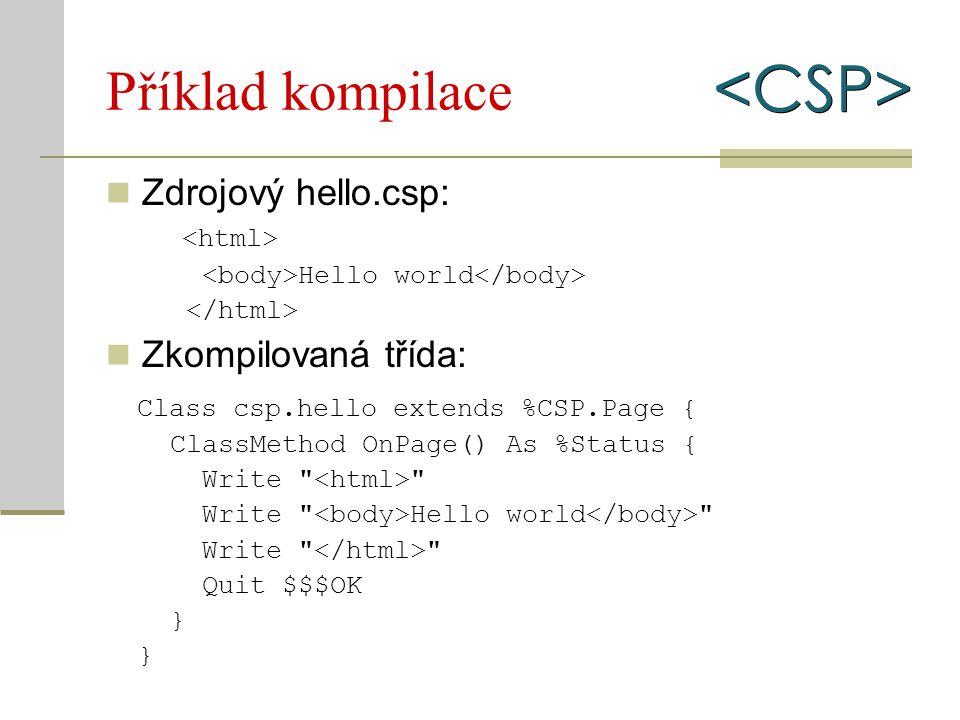 Hyper-události (3) Synchronní případ: #server(třída.metoda(parametry, …))# Parametry lze zadat v JavaScript sekci Příklad – hyper-událost server (ex13server.csp)