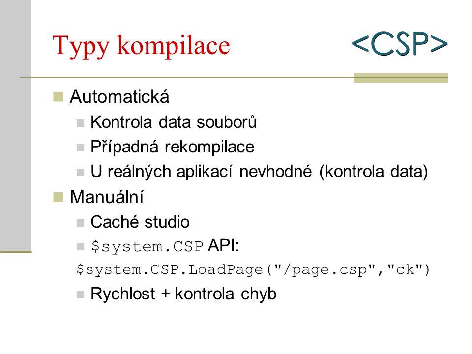 Typy kompilace Automatická Kontrola data souborů Případná rekompilace U reálných aplikací nevhodné (kontrola data) Manuální Caché studio $system.CSP A