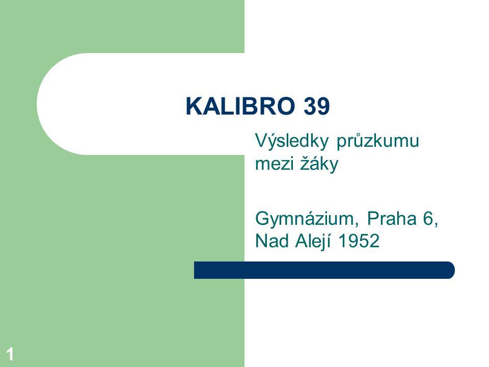1 KALIBRO 39 Výsledky průzkumu mezi žáky Gymnázium, Praha 6, Nad Alejí 1952
