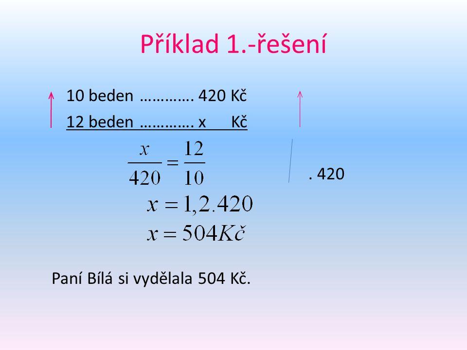Příklad 1.-řešení 10 beden …………. 420 Kč 12 beden …………. x Kč. 420 Paní Bílá si vydělala 504 Kč.