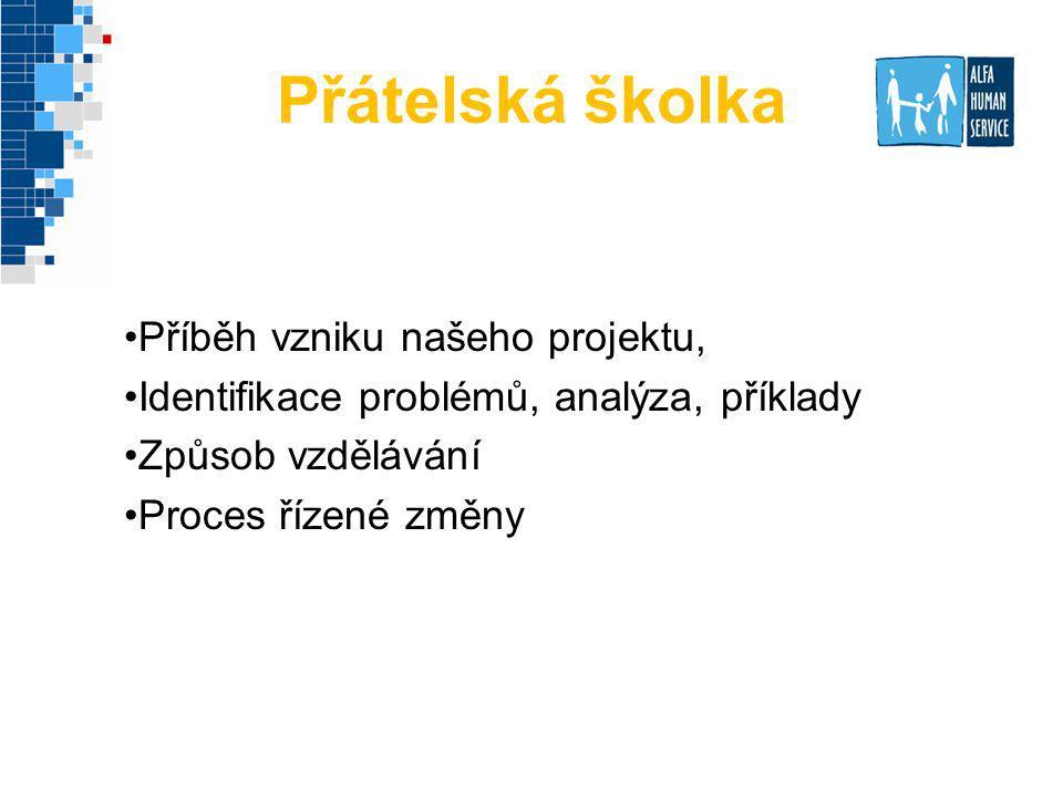 Přátelská školka Příběh vzniku našeho projektu, Identifikace problémů, analýza, příklady Způsob vzdělávání Proces řízené změny