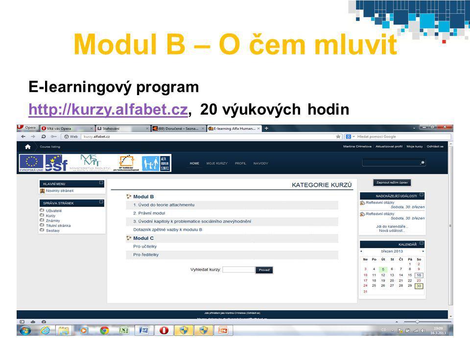 Modul B – O čem mluvit E-learningový program http://kurzy.alfabet.czhttp://kurzy.alfabet.cz, 20 výukových hodin