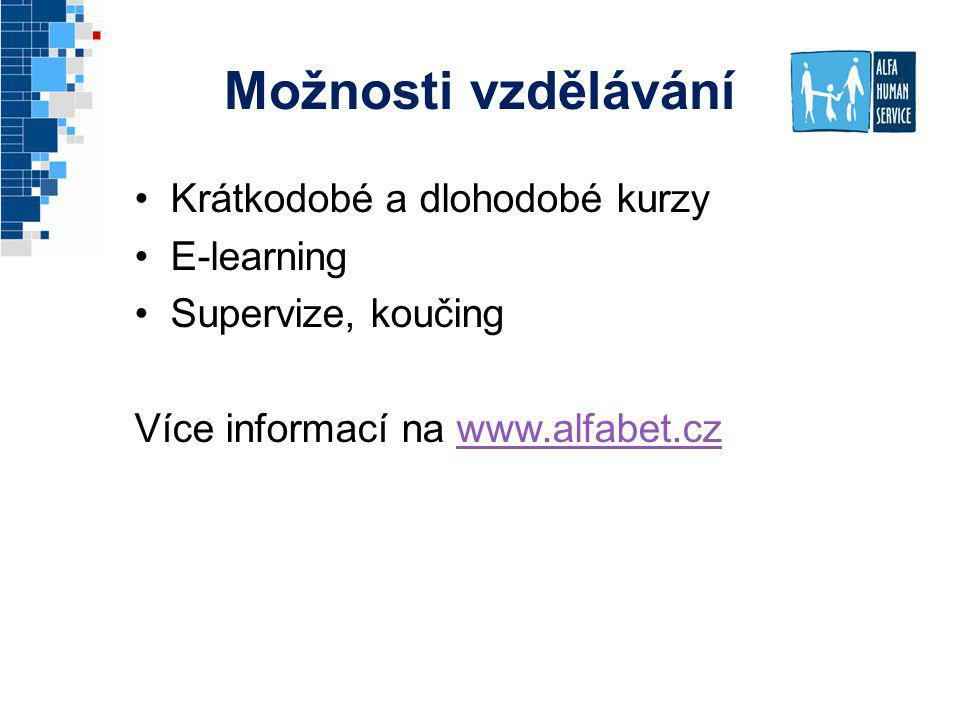 Možnosti vzdělávání Krátkodobé a dlohodobé kurzy E-learning Supervize, koučing Více informací na www.alfabet.czwww.alfabet.cz