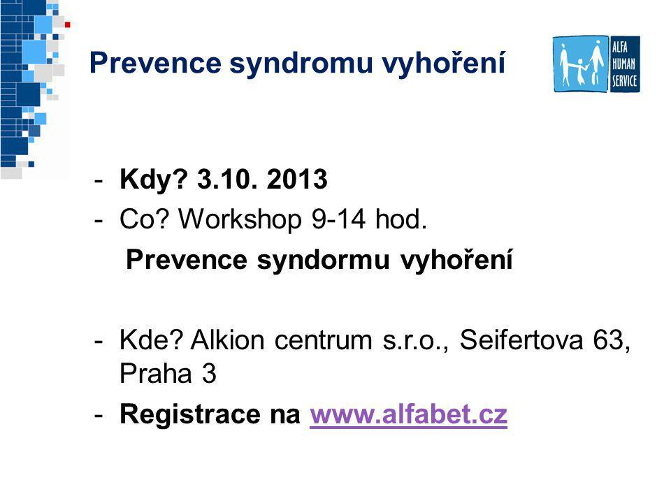 Prevence syndromu vyhoření -Kdy? 3.10. 2013 -Co? Workshop 9-14 hod. Prevence syndormu vyhoření -Kde? Alkion centrum s.r.o., Seifertova 63, Praha 3 -Re