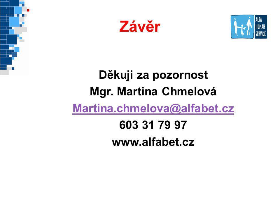 Závěr Děkuji za pozornost Mgr. Martina Chmelová Martina.chmelova@alfabet.cz 603 31 79 97 www.alfabet.cz