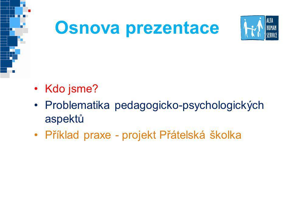 Osnova prezentace Kdo jsme? Problematika pedagogicko-psychologických aspektů Příklad praxe - projekt Přátelská školka