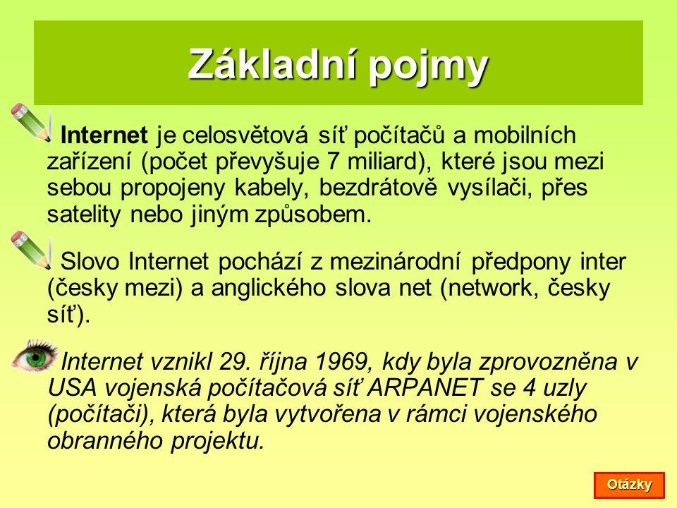 Základní pojmy Internet je celosvětová síť počítačů a mobilních zařízení (počet převyšuje 7 miliard), které jsou mezi sebou propojeny kabely, bezdráto