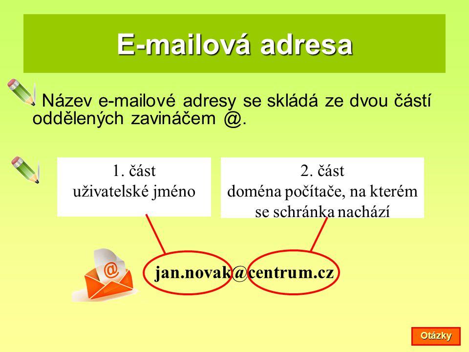 E-mailová adresa Název e-mailové adresy se skládá ze dvou částí oddělených zavináčem @. jan.novak@centrum.cz 1. část uživatelské jméno 2. část doména