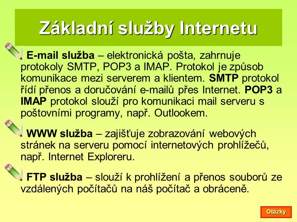 Základní služby Internetu E-mail služba – elektronická pošta, zahrnuje protokoly SMTP, POP3 a IMAP. Protokol je způsob komunikace mezi serverem a klie