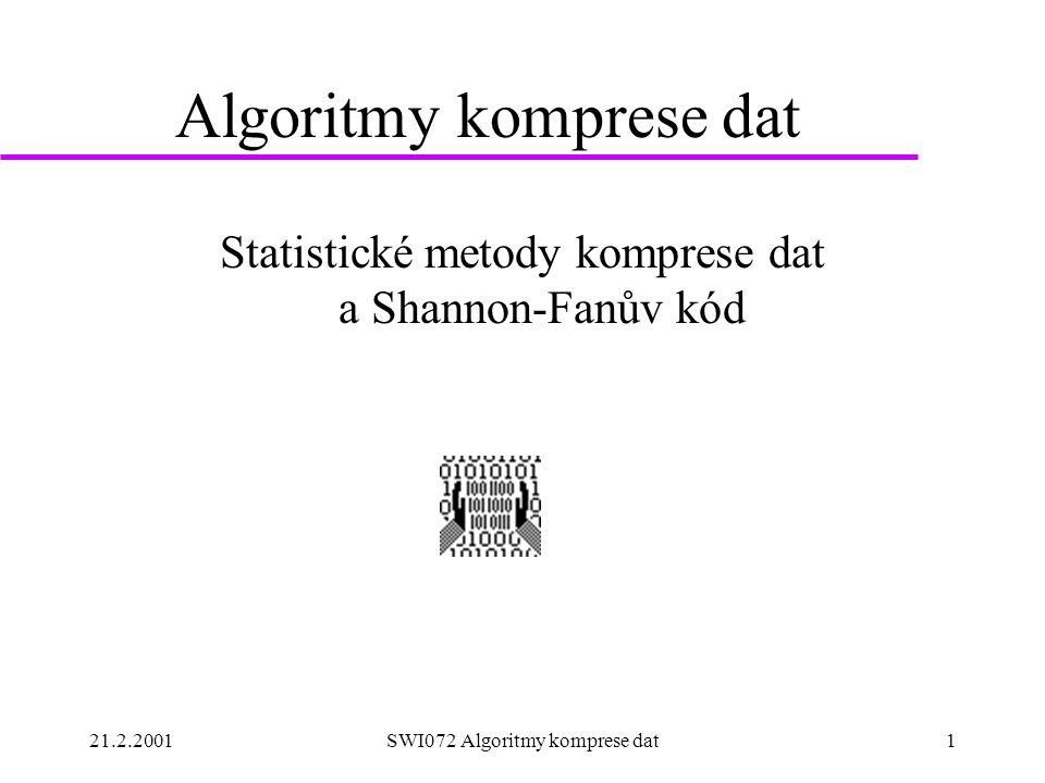 21.2.2001SWI072 Algoritmy komprese dat1 Algoritmy komprese dat Statistické metody komprese dat a Shannon-Fanův kód