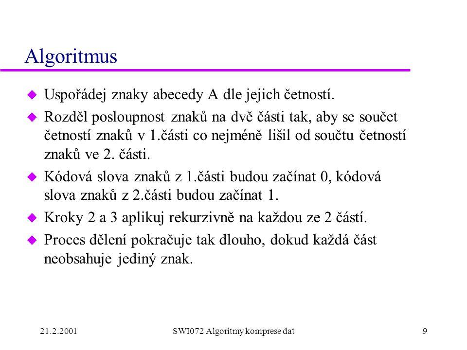 21.2.2001SWI072 Algoritmy komprese dat9 Algoritmus u Uspořádej znaky abecedy A dle jejich četností.