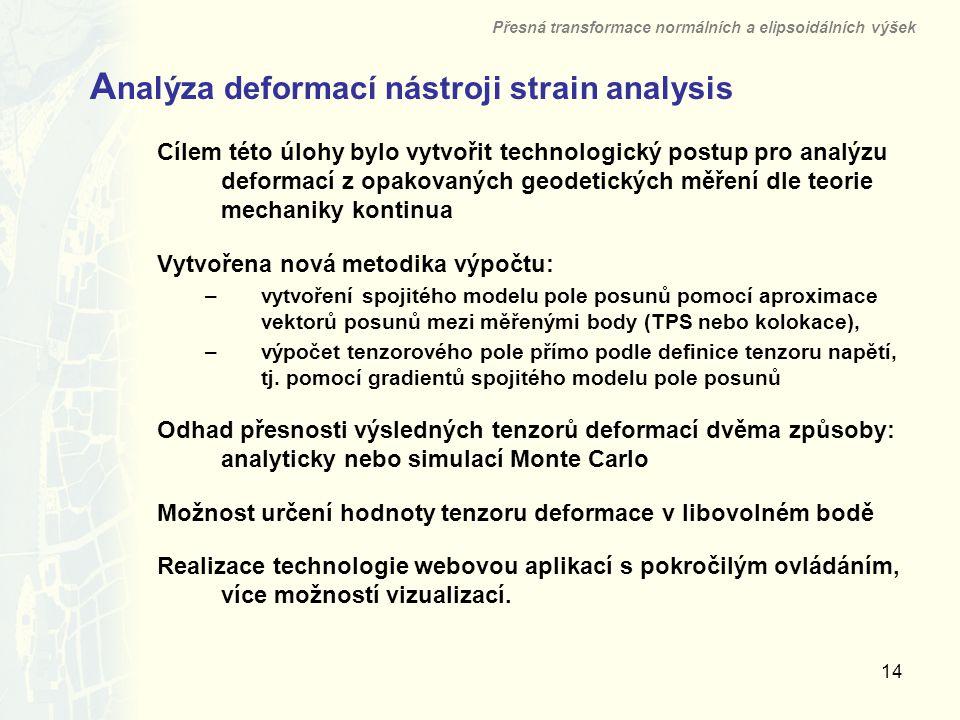 14 A nalýza deformací nástroji strain analysis Přesná transformace normálních a elipsoidálních výšek Cílem této úlohy bylo vytvořit technologický post