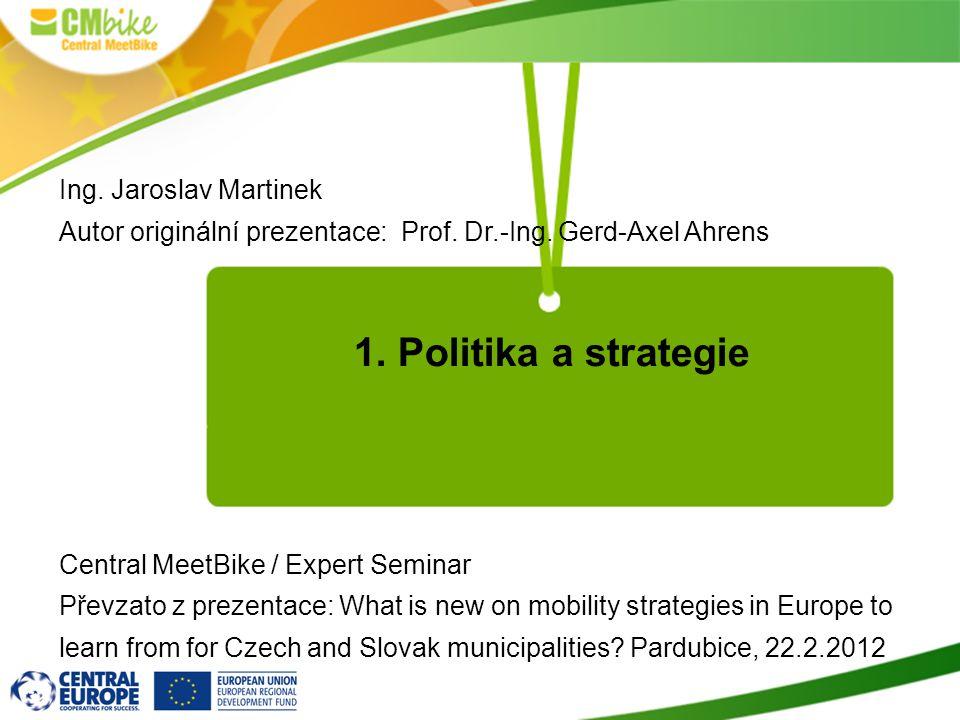 1. Politika a strategie Ing. Jaroslav Martinek Autor originální prezentace: Prof.