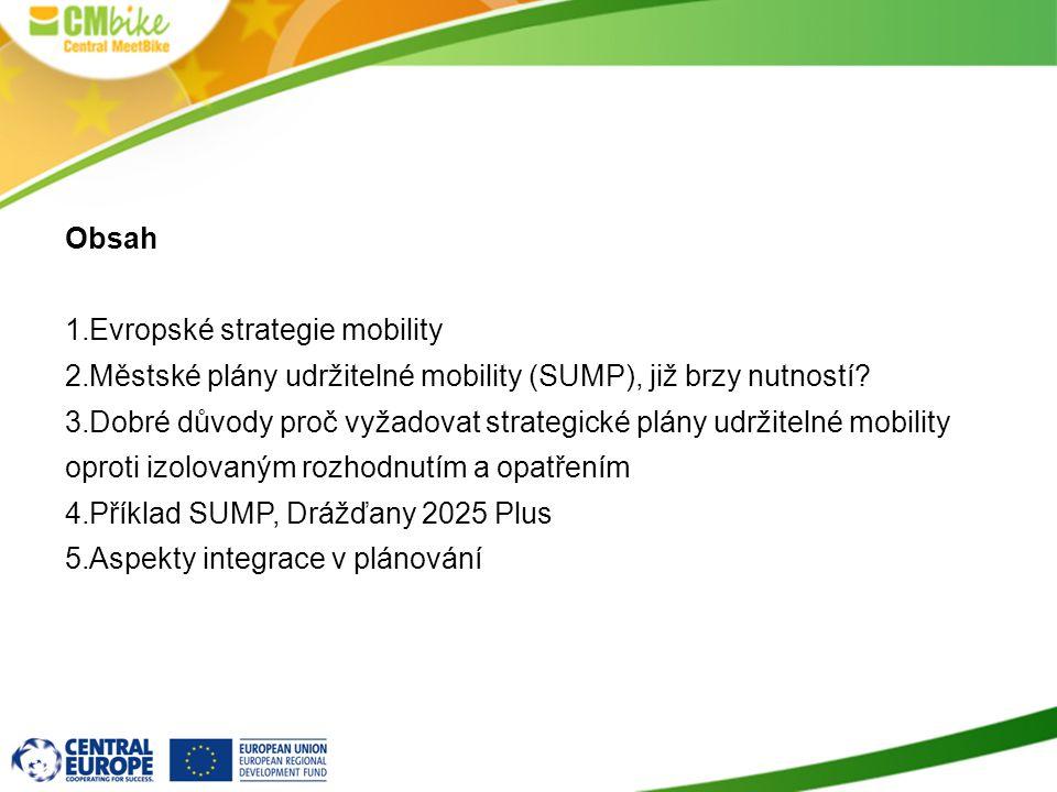 Obsah 1.Evropské strategie mobility 2.Městské plány udržitelné mobility (SUMP), již brzy nutností? 3.Dobré důvody proč vyžadovat strategické plány udr