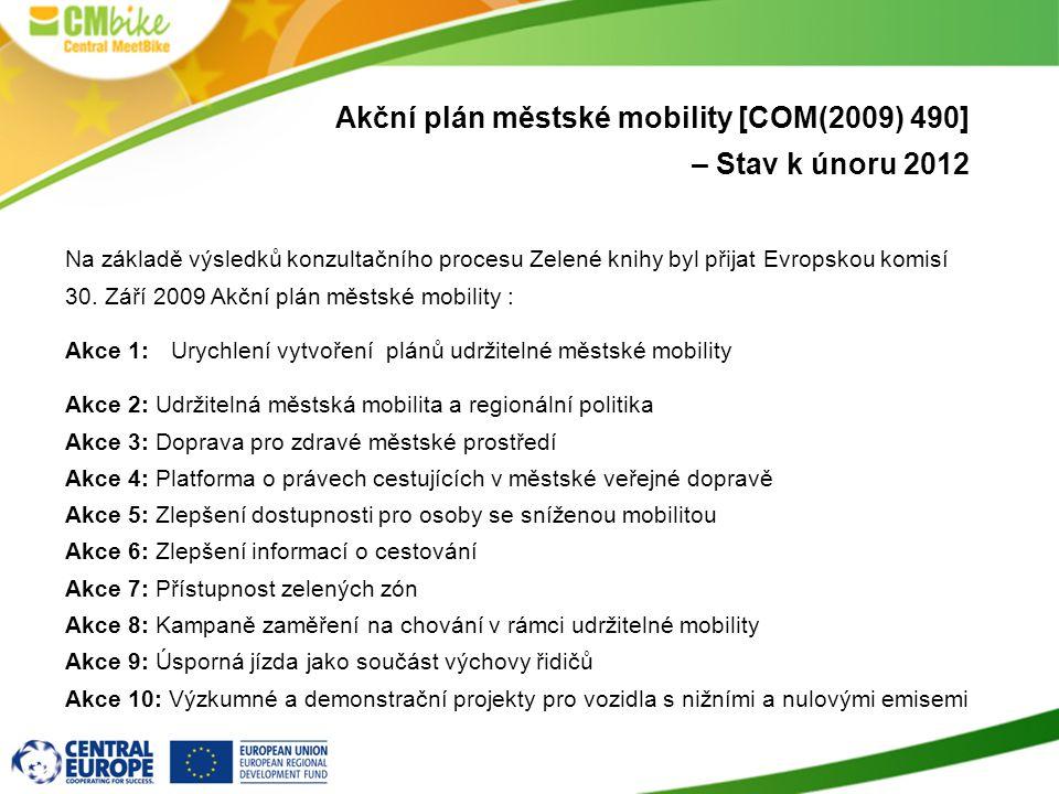 Akční plán městské mobility [COM(2009) 490] – Stav k únoru 2012 Na základě výsledků konzultačního procesu Zelené knihy byl přijat Evropskou komisí 30.