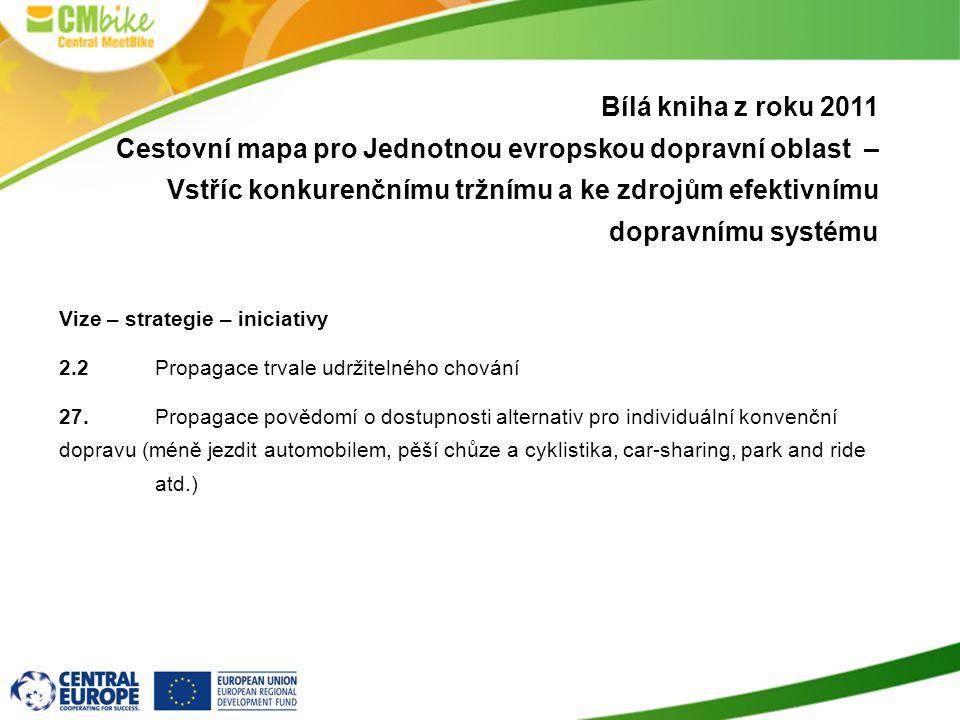 Bílá kniha z roku 2011 Cestovní mapa pro Jednotnou evropskou dopravní oblast – Vstříc konkurenčnímu tržnímu a ke zdrojům efektivnímu dopravnímu systému Vize – strategie – iniciativy 2.2 Propagace trvale udržitelného chování 27.