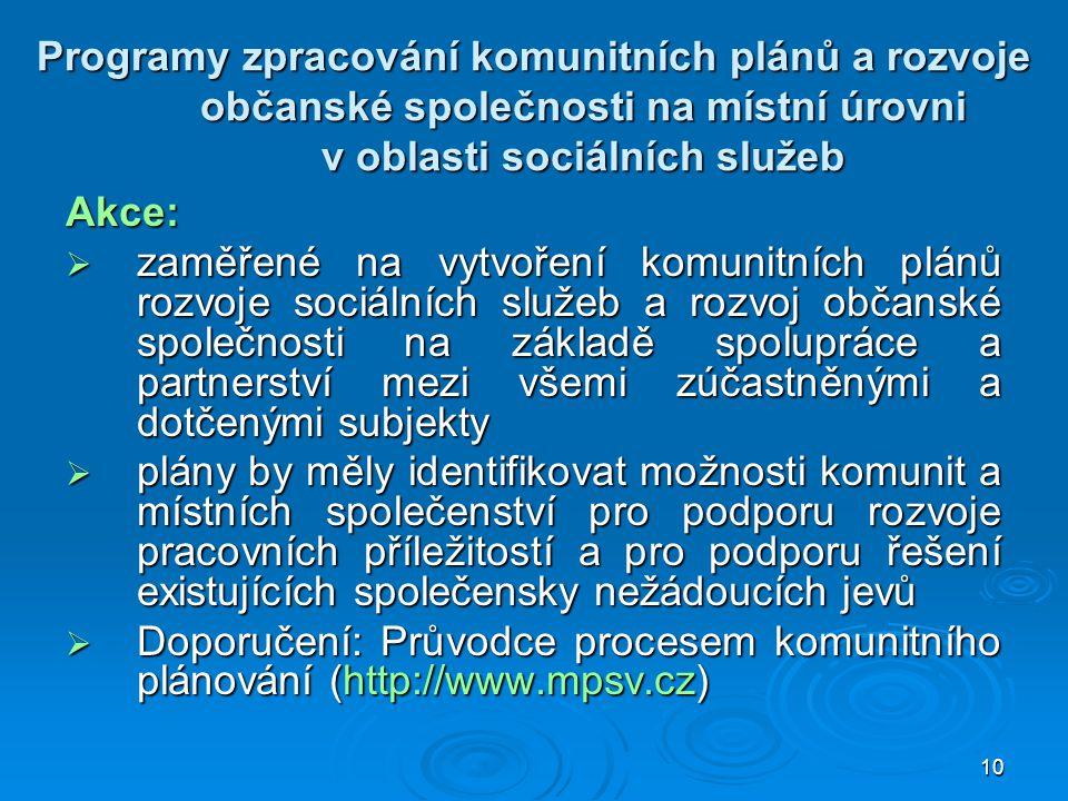 10 Programy zpracování komunitních plánů a rozvoje občanské společnosti na místní úrovni v oblasti sociálních služeb Akce:  zaměřené na vytvoření kom