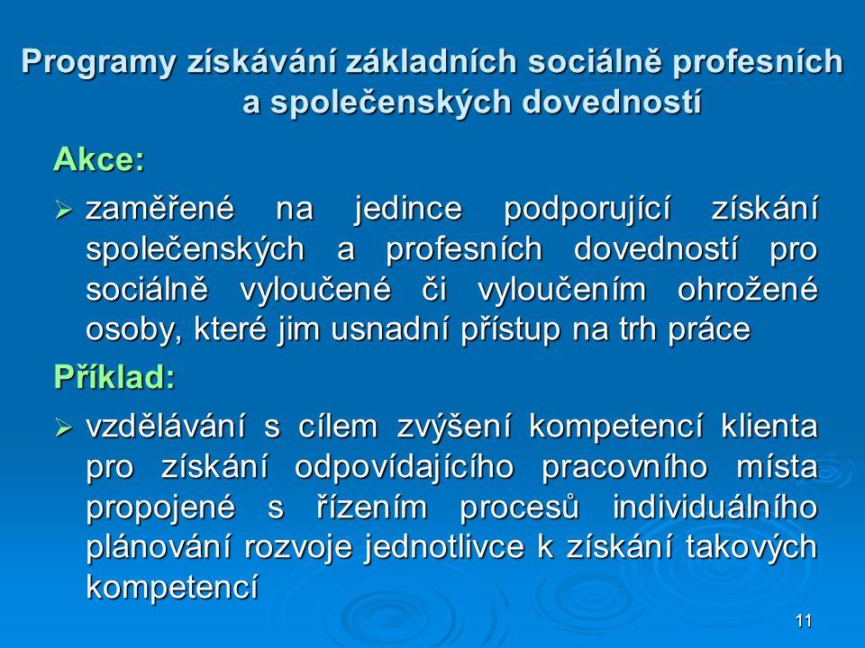 11 Programy získávání základních sociálně profesních a společenských dovedností Akce:  zaměřené na jedince podporující získání společenských a profes
