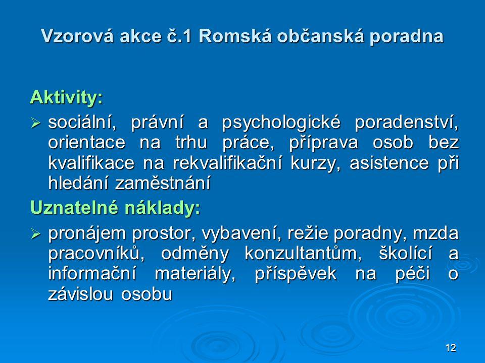 12 Vzorová akce č.1 Romská občanská poradna Aktivity:  sociální, právní a psychologické poradenství, orientace na trhu práce, příprava osob bez kvali
