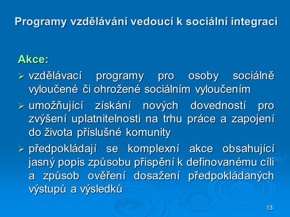 13 Programy vzdělávání vedoucí k sociální integraci Akce:  vzdělávací programy pro osoby sociálně vyloučené či ohrožené sociálním vyloučením  umožňu
