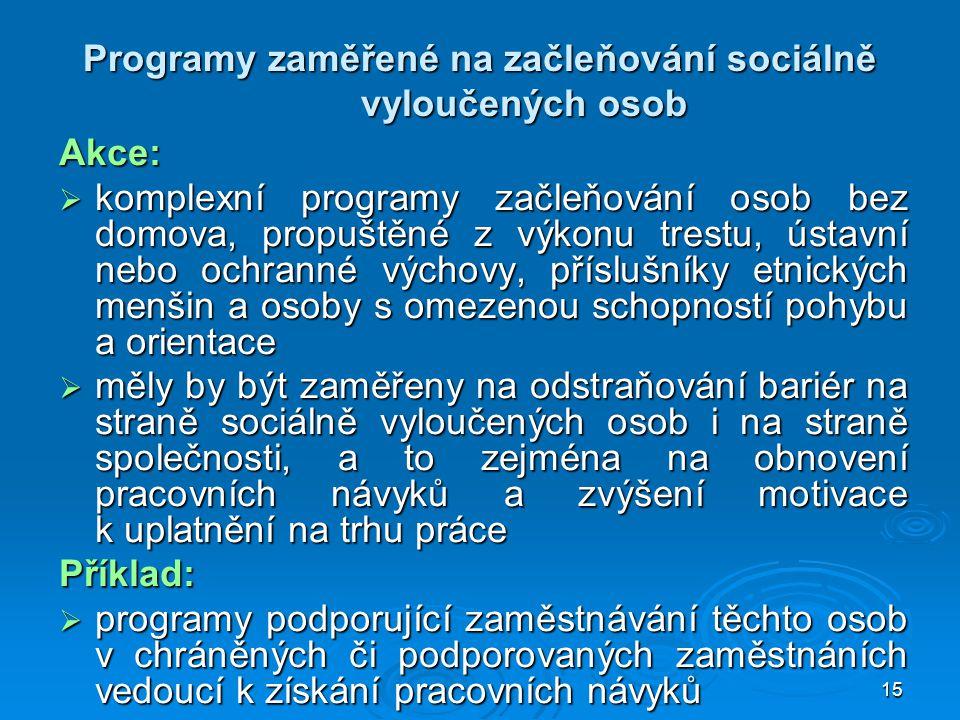 15 Programy zaměřené na začleňování sociálně vyloučených osob Akce:  komplexní programy začleňování osob bez domova, propuštěné z výkonu trestu, ústa
