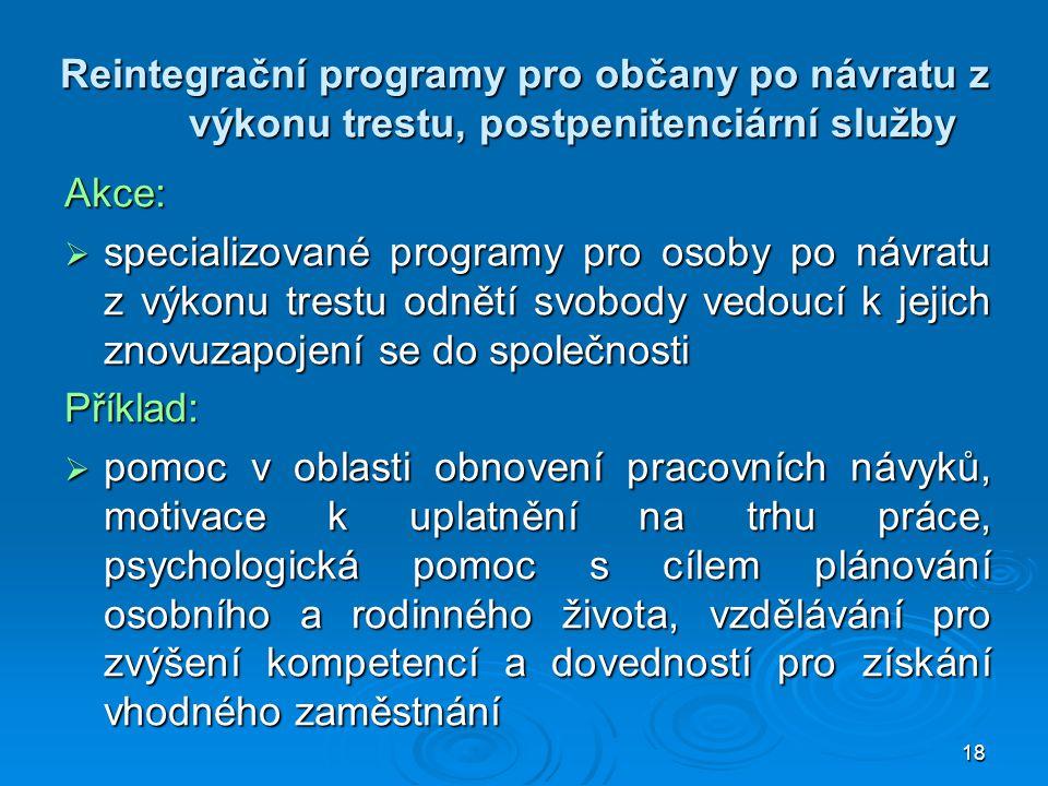 18 Reintegrační programy pro občany po návratu z výkonu trestu, postpenitenciární služby Akce:  specializované programy pro osoby po návratu z výkonu