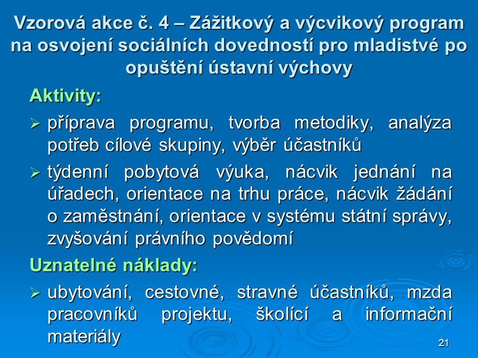 21 Vzorová akce č. 4 – Zážitkový a výcvikový program na osvojení sociálních dovedností pro mladistvé po opuštění ústavní výchovy Aktivity:  příprava