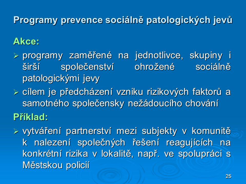 25 Programy prevence sociálně patologických jevů Akce:  programy zaměřené na jednotlivce, skupiny i širší společenství ohrožené sociálně patologickým