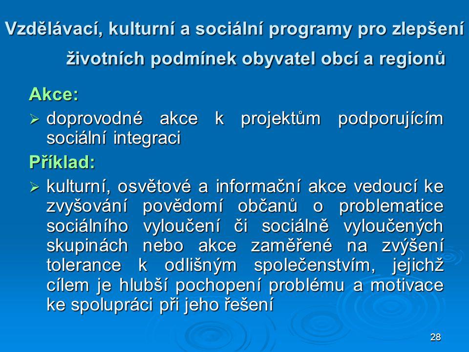 28 Vzdělávací, kulturní a sociální programy pro zlepšení životních podmínek obyvatel obcí a regionů Akce:  doprovodné akce k projektům podporujícím s