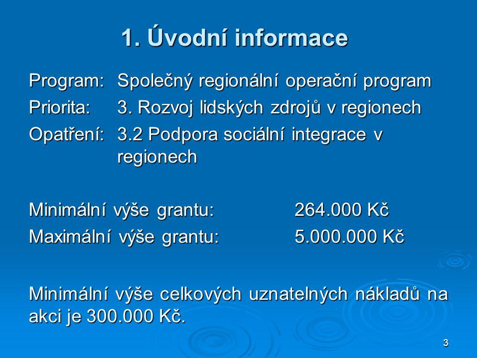 3 1. Úvodní informace Program: Společný regionální operační program Priorita:3. Rozvoj lidských zdrojů v regionech Opatření:3.2 Podpora sociální integ
