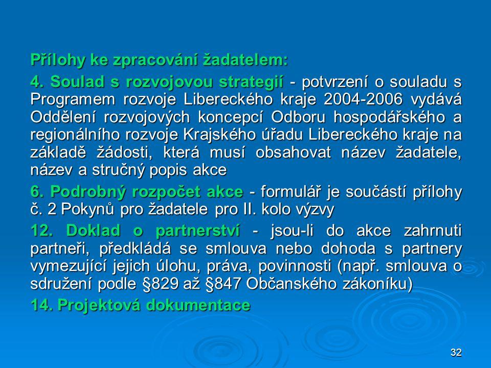 32 Přílohy ke zpracování žadatelem: 4. Soulad s rozvojovou strategií - potvrzení o souladu s Programem rozvoje Libereckého kraje 2004-2006 vydává Oddě