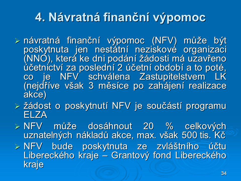 34 4. Návratná finanční výpomoc  návratná finanční výpomoc (NFV) může být poskytnuta jen nestátní neziskové organizaci (NNO), která ke dni podání žád