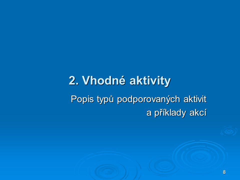 8 2. Vhodné aktivity Popis typů podporovaných aktivit a příklady akcí
