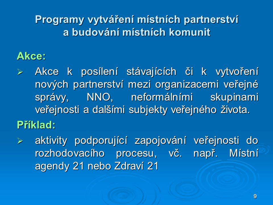9 Programy vytváření místních partnerství a budování místních komunit Akce:  Akce k posílení stávajících či k vytvoření nových partnerství mezi organ
