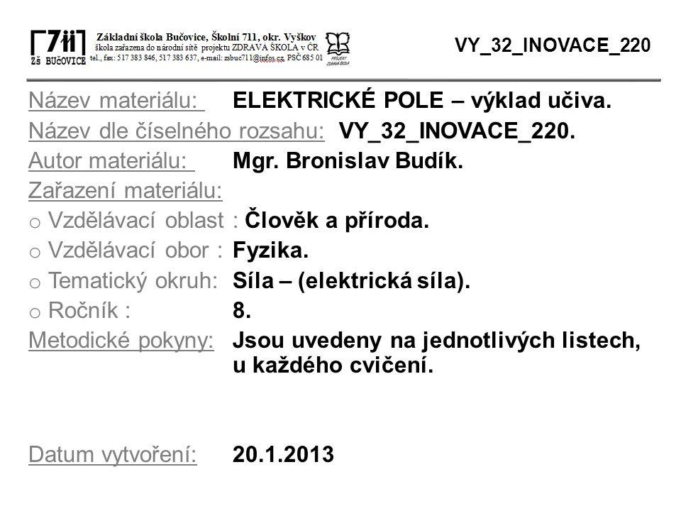Název materiálu: ELEKTRICKÉ POLE – výklad učiva. Název dle číselného rozsahu: VY_32_INOVACE_220. Autor materiálu: Mgr. Bronislav Budík. Zařazení mater