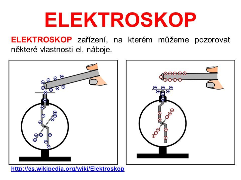 ELEKTROSKOP ELEKTROSKOP zařízení, na kterém můžeme pozorovat některé vlastnosti el. náboje. http://cs.wikipedia.org/wiki/Elektroskop