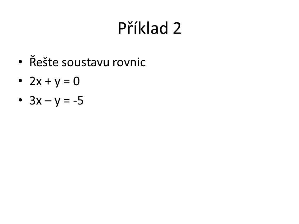 Příklad 2 Řešte soustavu rovnic 2x + y = 0 3x – y = -5