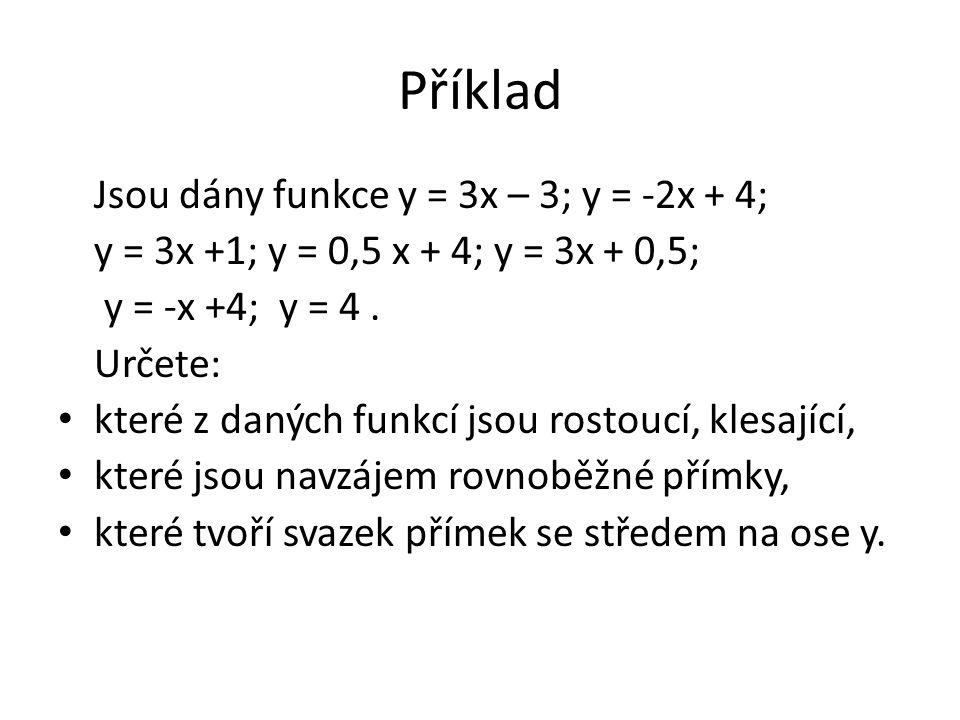 Příklad Jsou dány funkce y = 3x – 3; y = -2x + 4; y = 3x +1; y = 0,5 x + 4; y = 3x + 0,5; y = -x +4; y = 4.