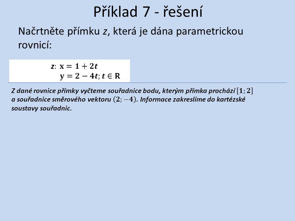 Příklad 7 - řešení Načrtněte přímku z, která je dána parametrickou rovnicí: