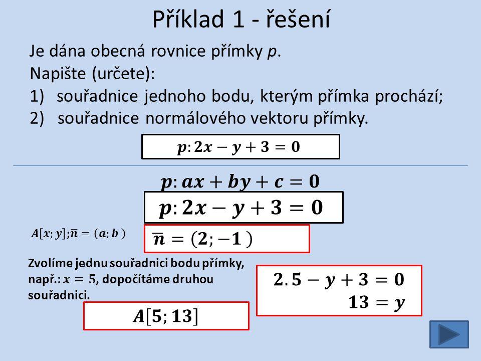 Příklad 7 Načrtněte přímku z, která je dána obecnou rovnicí: